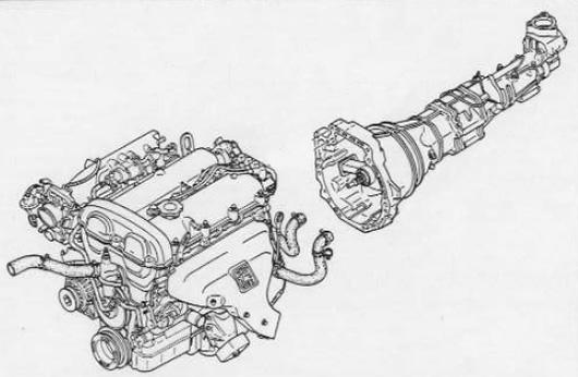 Zeichnung des B6 Motors mit Getriebe