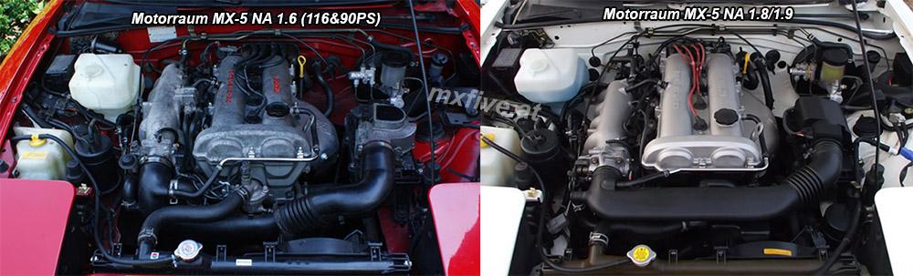 Mazda MX-5 Motorraum Vergleich 1.8 1.9